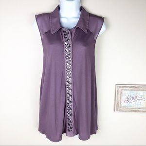 Silence + Noise Anthro Sleeveless Crystal Top L